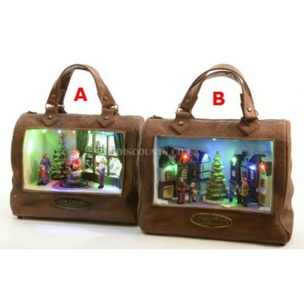 Lumineo LED Handbag Christmas Scene With Mechanical Display