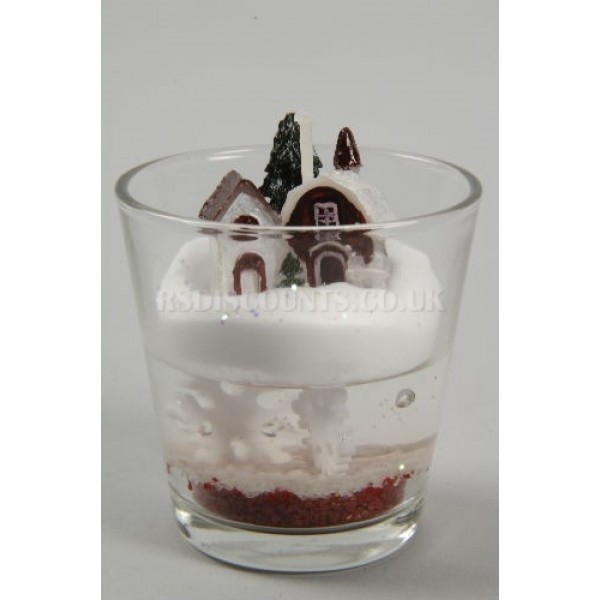 Lumineo Decorative Christmas Scene Candle in a glass