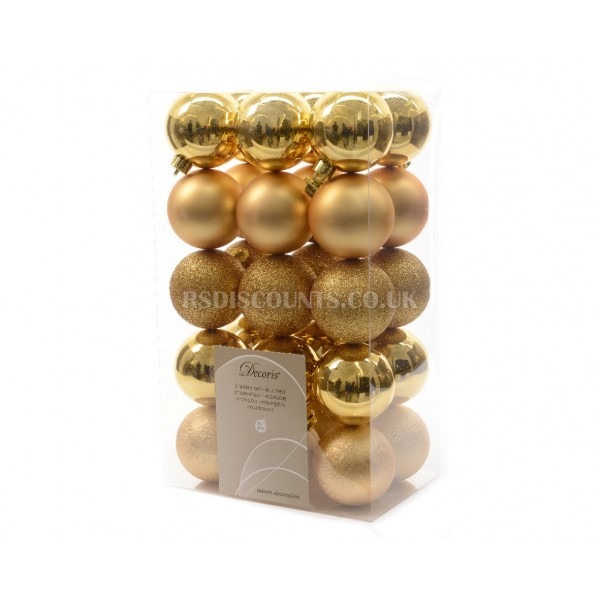 Lumineo 60cm Assorted Gold Colour Shatterproof Baubles  Pack of 30