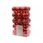 Lumineo 60cm Assorted Red Colour Shatterproof Baubles  Pack of 30