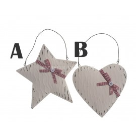 Lumineo 15cm Off White Hanging Heart or Star with Bow