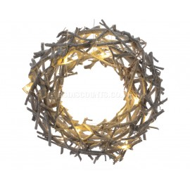Lumineo 30cm 16 Warm White LED Rattan Wreath