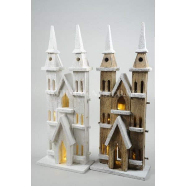 Lumineo 52cm 10 LED Warm White Wooden Church Twin Towers
