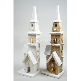Lumineo 40cm 10 LED Warm White Wooden Chapel Single Tower