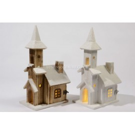 Lumineo 42cm 10 LED Warm White Wooden House