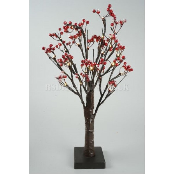 Lumineo 50cm Battery Operated LED Frosted Berry Tree