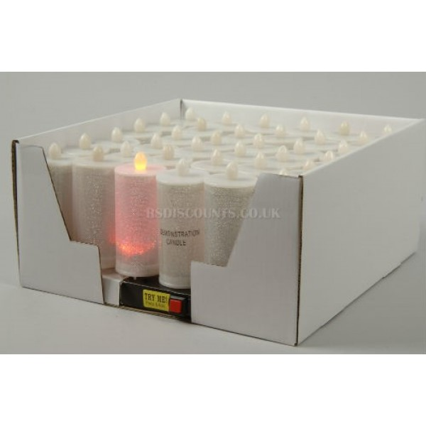Lumineo Led Colour Change Glitter Candle
