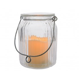 Lumineo 14.5cm Glass Jar LED Lantern with Timer