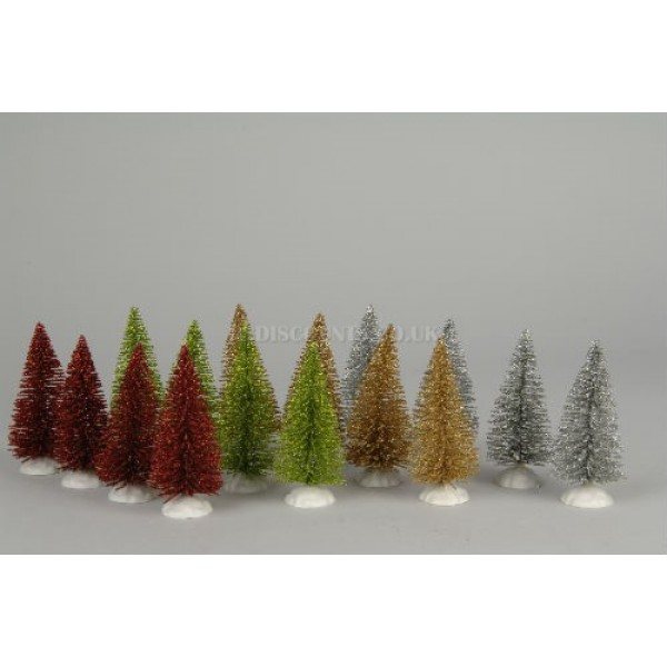 Lumineo 4 Minature Glitter Christmas Trees