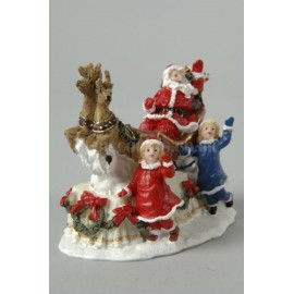 Lumineo Santa with Sleigh and Children Figurine