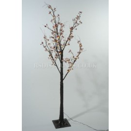 Lumineo 125cm Warm White LED Pre-lit Frosted Berry Christmas Tree