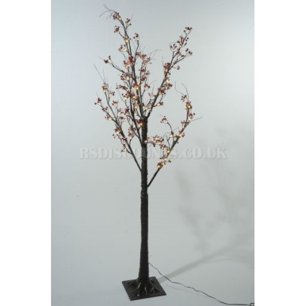 Lumineo 160cm Warm White LED Pre-lit Frosted Berry Christmas Tree