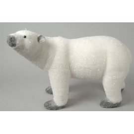Deco 33cm Standing Flocked Polar Bear