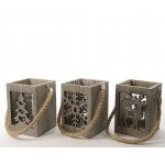 Lumineo Grey Wood Lantern with Glass Tea Light Container