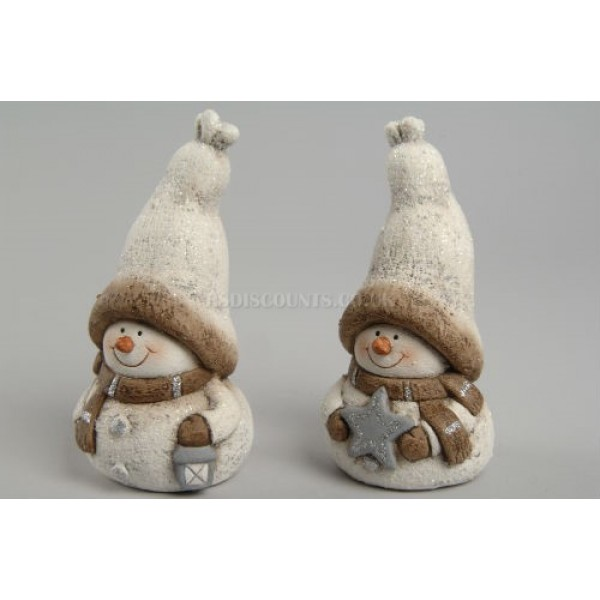 Pair of Pot Snowman Figures