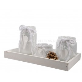 Lumineo Decorative Glass Tea Light Holder Set on Wooden Tray