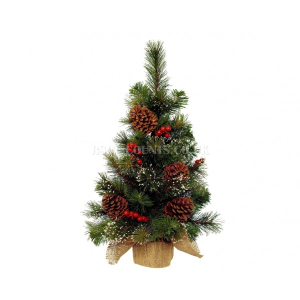 Lumineo 60cm Green Berry Tree with Snowy Decoration