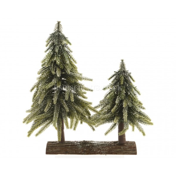 Everlands Miniature Glittered Pines On Wooden Log Base