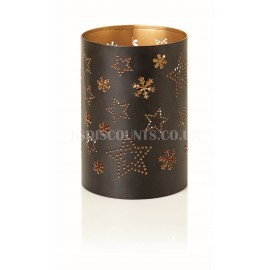 Premier 14cm Black Metal Candle Holder Stars and Flakes Design