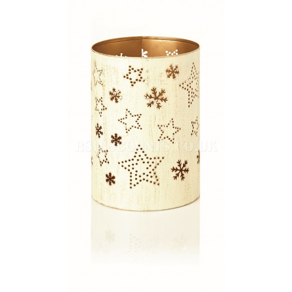 Premier 14cm White Metal Candle Holder Stars and Flakes Design
