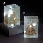 Snowtime 10 LED Ice White  Illuminated Glass Glitter Trees Scene on a 14.6cm Lit Square Glass Vase
