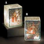 Snowtime 10 LED Warm White  Illuminated Glass Santa Scene on a 14.6cm Lit Square Glass Vase