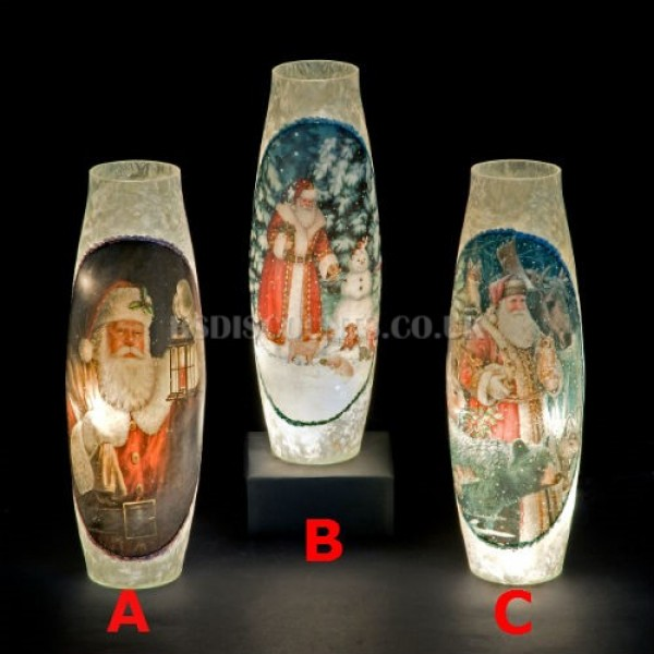 Snowtime 20 LED Warm White  Illuminated Glass Santa Scene on a 39cm Lit Slim Glass Vase