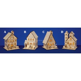 Premier Nordic Lit Village  Collection LED 16cm Wooden House