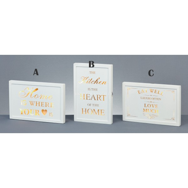 Premier LED Lit Wooden Wall Plaques in 3 Designs