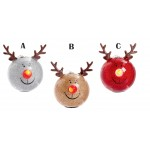 Premier 8cm LED Lit Reindeer Baubles Available in 3 Colours