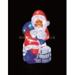 Premier 32cm 33 White LED Acrylic Santa Claus on a Chimney