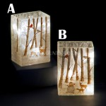 Snowtime 10 LED Warm White  Illuminated Glass Winter Woodland Scene on a 14.6cm Lit Square Glass Vase