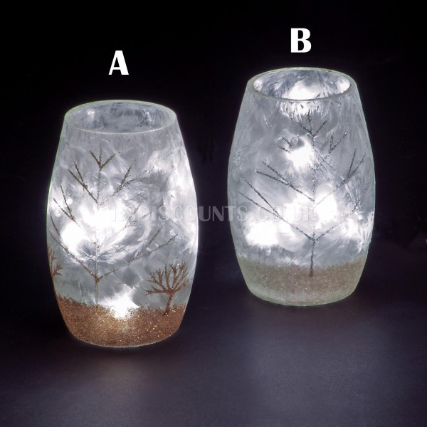 Snowtime 10 LED Ice White  Illuminated Glass Winter Scene on a 13cm Lit Glass Vase