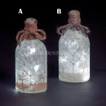 Snowtime 10 LED Ice White  Illuminated Glass Winter Scene on a 21.5cm Lit Glass Bottle