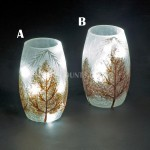 Snowtime 10 LED Ice White  Illuminated Glass Glitter Trees Scene on a 13cm Lit Slim Glass Vase