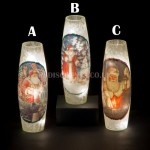 Snowtime 10 LED Warm White  Illuminated Glass Santa Scene on a 29.8cm Lit Slim Glass Vase