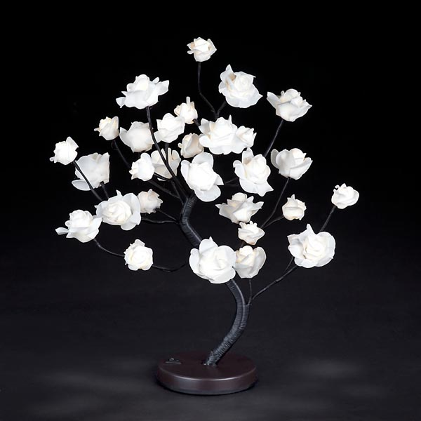 Snow Time 45cm Warm White LED Indoor Rose Tree