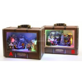 Lumineo LED Suitcase Christmas Scene With Mechanical Display