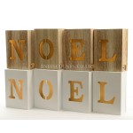 Lumineo Wooden Noel Blocks With Warm White LEDs In Natural Wood or White Finish