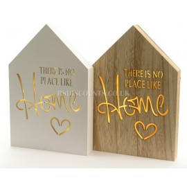 Lumineo No Place Like Home Wooden LED Wall Plaques in Natural Wood or White Finish