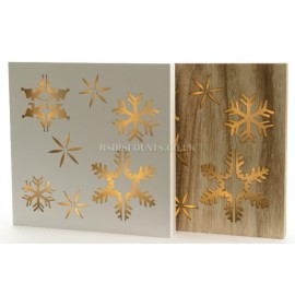 Lumineo Wooden Snow Flakes LED Wall Plaques in Natural Wood or White Finish