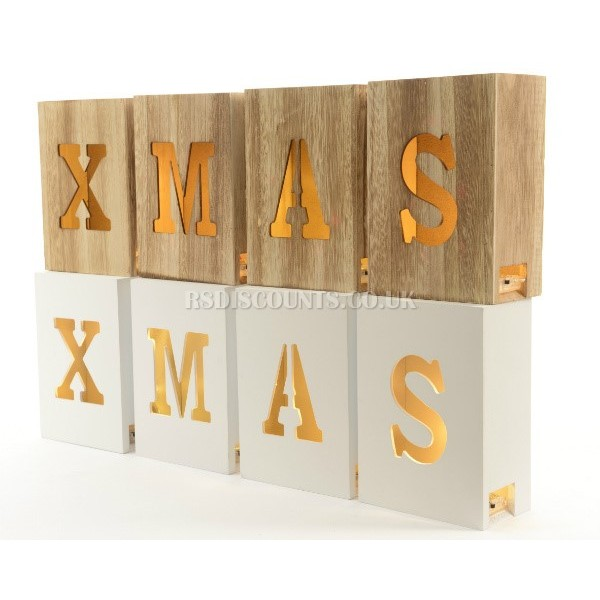 Lumineo Wooden Xmas Blocks With Warm White LEDs In Natural Wood or White Finish