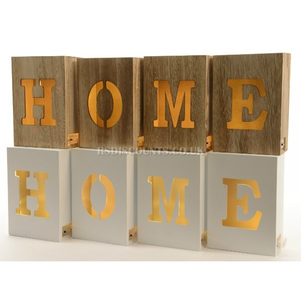 Lumineo Wooden Home Blocks With Warm White LEDs In Natural Wood or White Finish