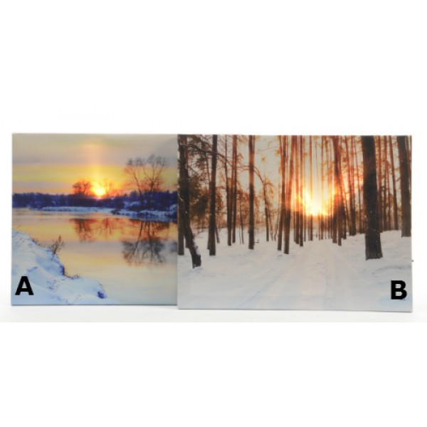 Lumineo LED Winter Sunset Canvas 40 x 60cm Choice of Two Designs