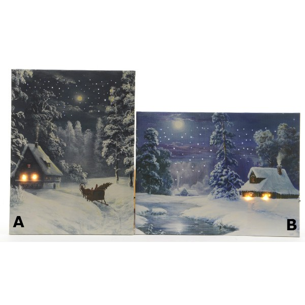 Lumineo LED Winter Landscape Canvas 30 x 40 cm Choice of Two Designs