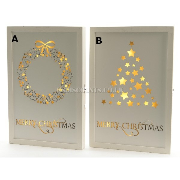Lumineo Wooden LED Merry Christmas Plaque Choice of Two Designs