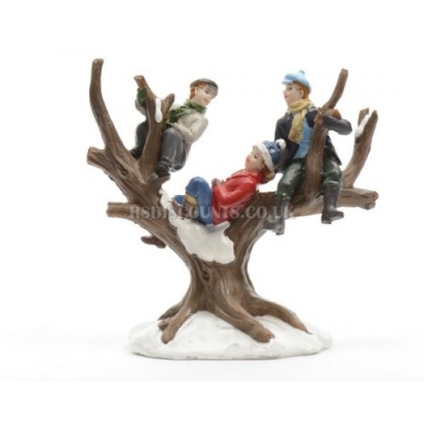 Lumineo Miniature Children In A Tree  Figure