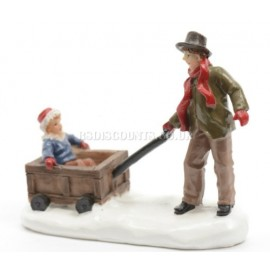 Lumineo Miniature Father and Son Cart Figure