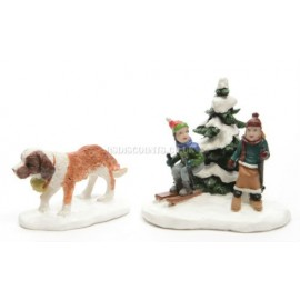 Lumineo Miniature St Bernard and People Figures