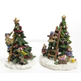 Lumineo Miniature Children Decorating a Tree Figure